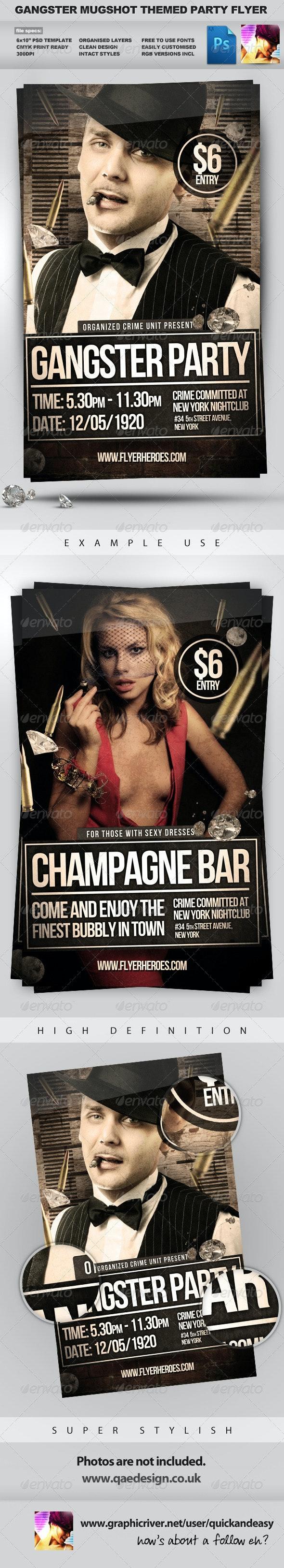 Gangster Mugshot - Crime / Mugshot Style Flyer - Clubs & Parties Events