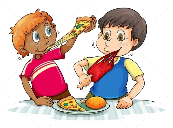 Hungry Boys Eating - People Characters