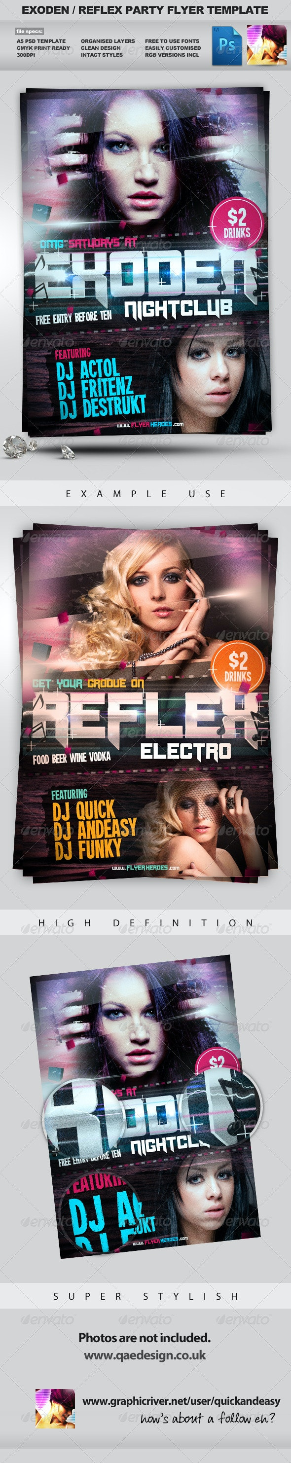 Exoden Nightclub Party Flyer Template - Clubs & Parties Events