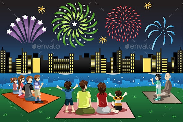 Families Watching Fireworks in a Park - People Characters