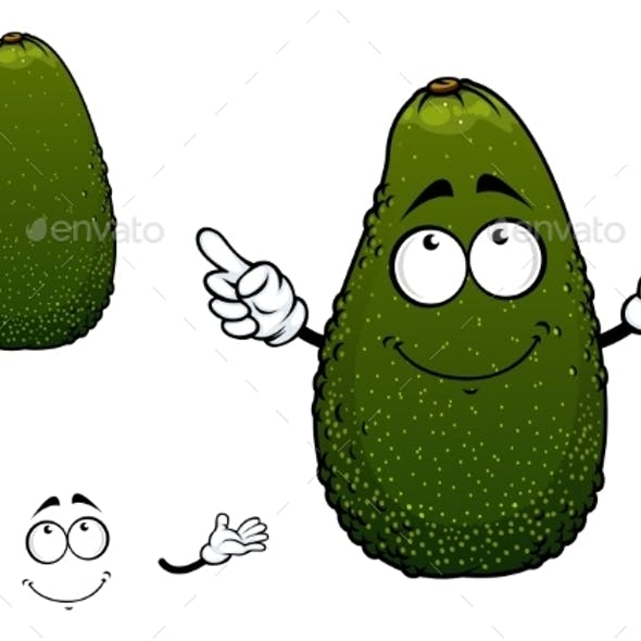 Green Tropical Avocado Fruit Cartoon Character