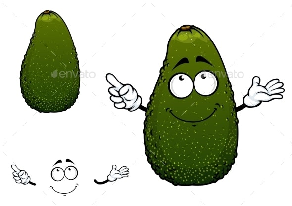 Green Tropical Avocado Fruit Cartoon Character - Food Objects