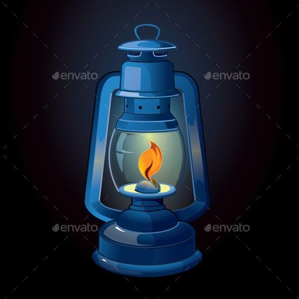 Old-Fashioned Blue Lantern