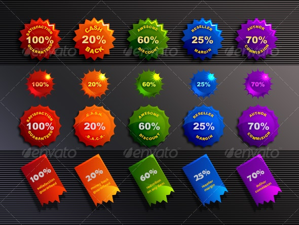 seals, stars, bottlecaps and stickers - Web Elements