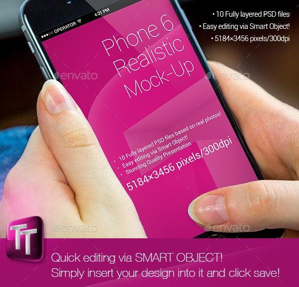 Phone 6 Realistic Mock-Up - Mobile Displays
