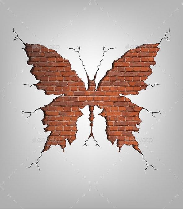 Brick Damage Butterfly - Backgrounds Decorative