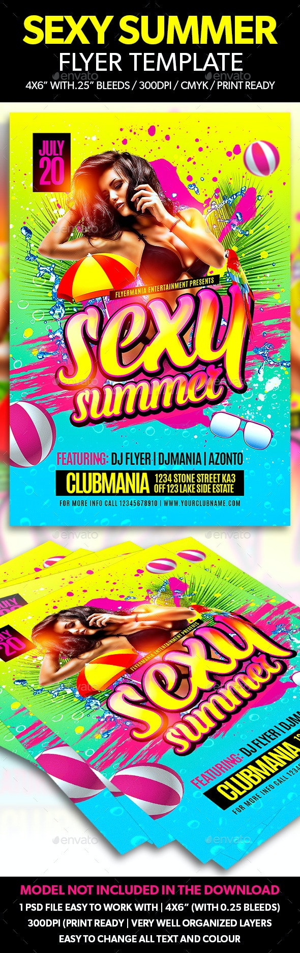 Sexy Summer Flyer Template - Clubs & Parties Events