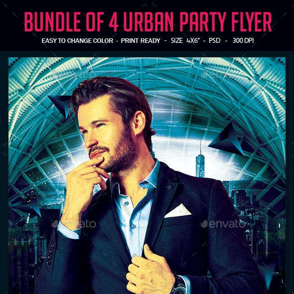 Bundle of 4 Urban Party Flyer