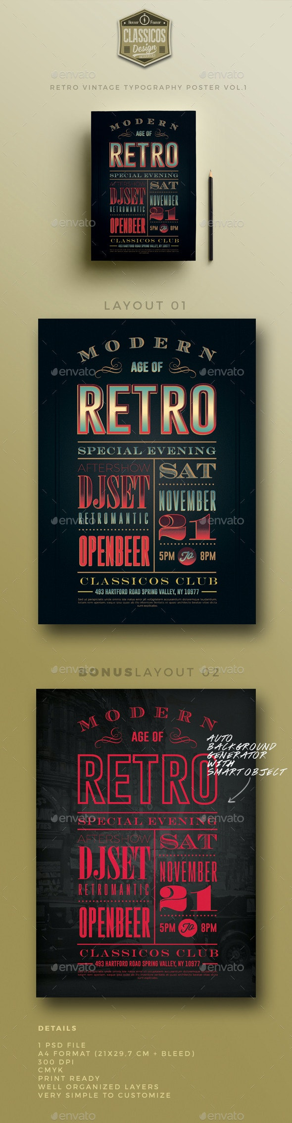 Retro vintage typography poster VOL.1 - Events Flyers