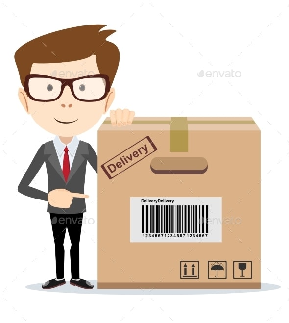 Delivery Man Pointing to a Box - Concepts Business