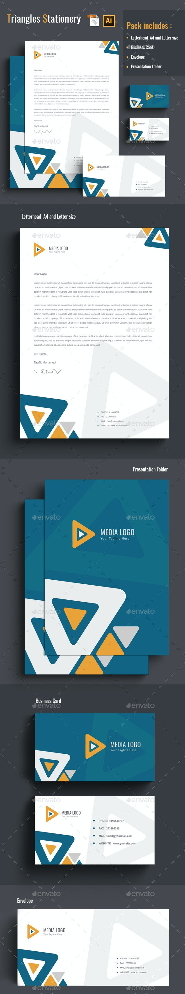 Triangles Stationery - Stationery Print Templates