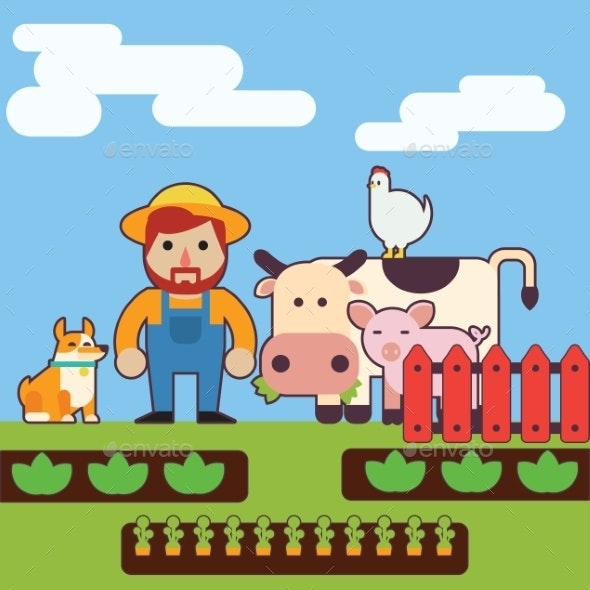 Farmer and Farm Animals - Animals Characters