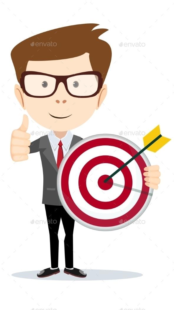 Man Holding a Target with Arrow - Concepts Business