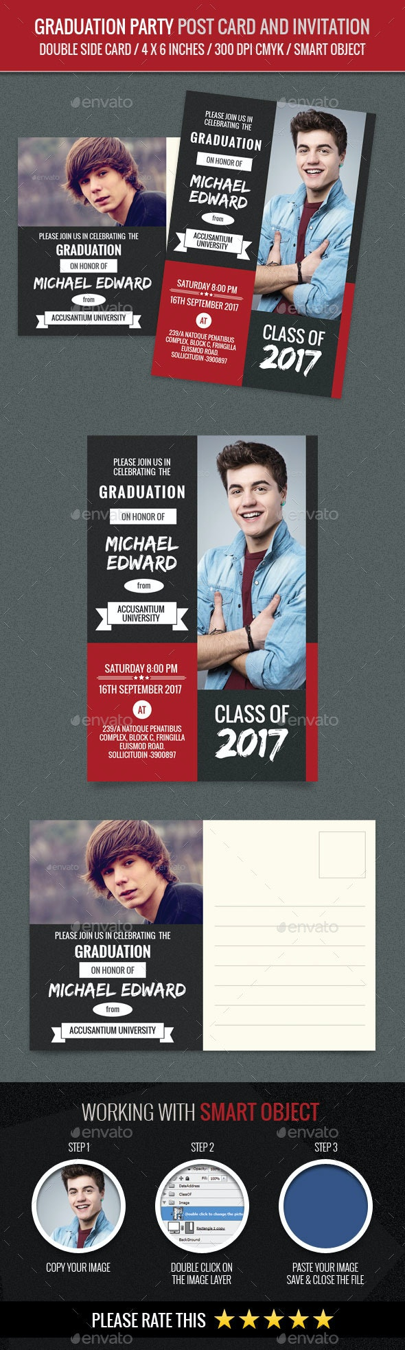 Graduation Party Post Card and Invitation Card Tem - Cards & Invites Print Templates