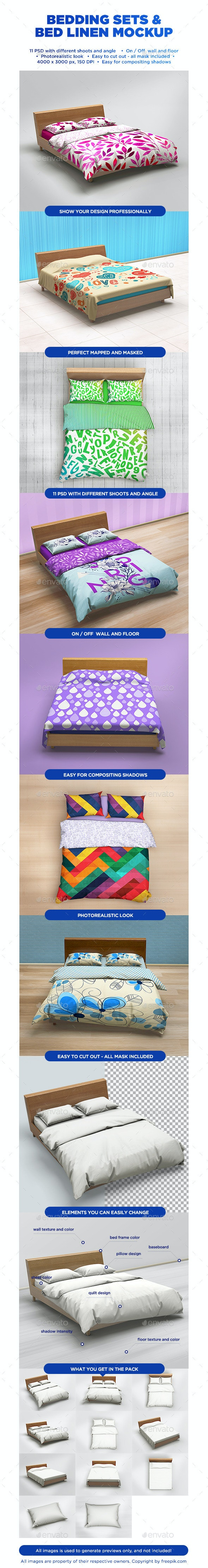 Bedding Sets & Bed Linen Mockup - Miscellaneous Product Mock-Ups