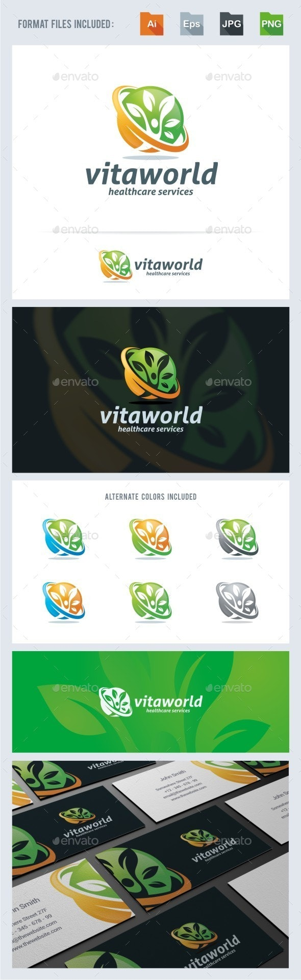 Vitaworld - Health Care Logo Template - Humans Logo Templates