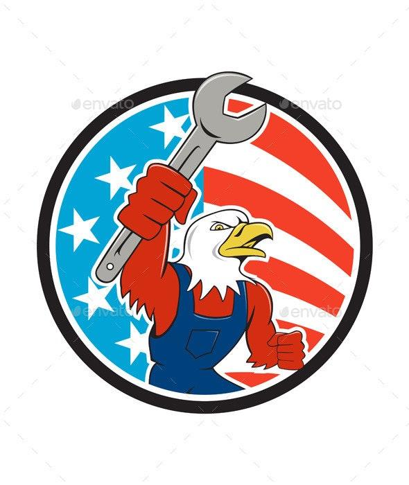 American Bald Eagle Mechanic Circle USA - Animals Characters