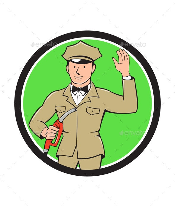 Gas Jockey Attendant Waving Circle Cartoon - People Characters