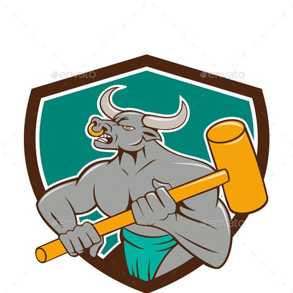 Minotaur Wielding Sledgehammer Shield Cartoon