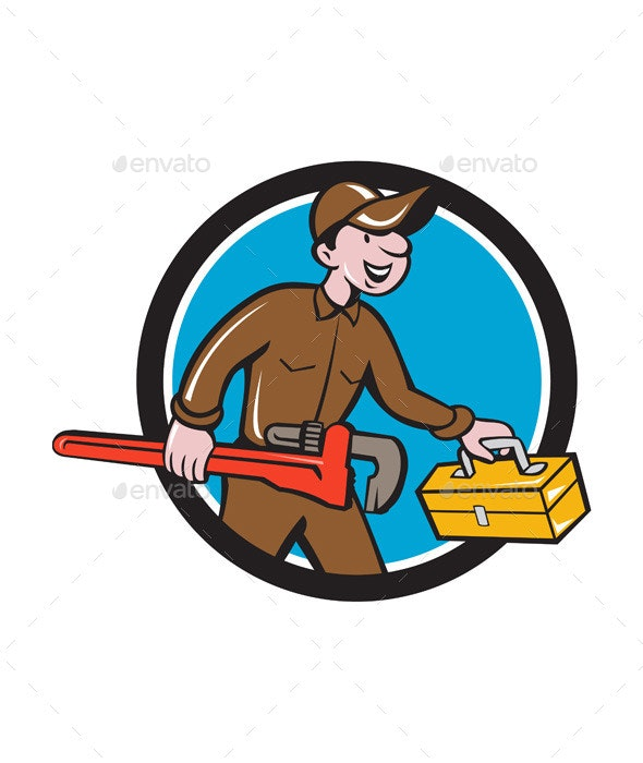 Plumber Carrying Monkey Wrench Toolbox Circle - People Characters