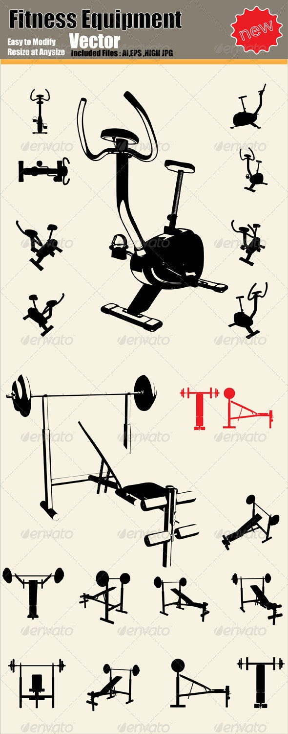 Vector Fitness Equipment Silhouette Set - Man-made Objects Objects