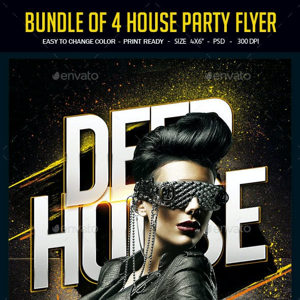 Bundle of 4 House Party Flyers