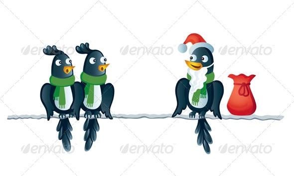 Three winter birds - Christmas Seasons/Holidays