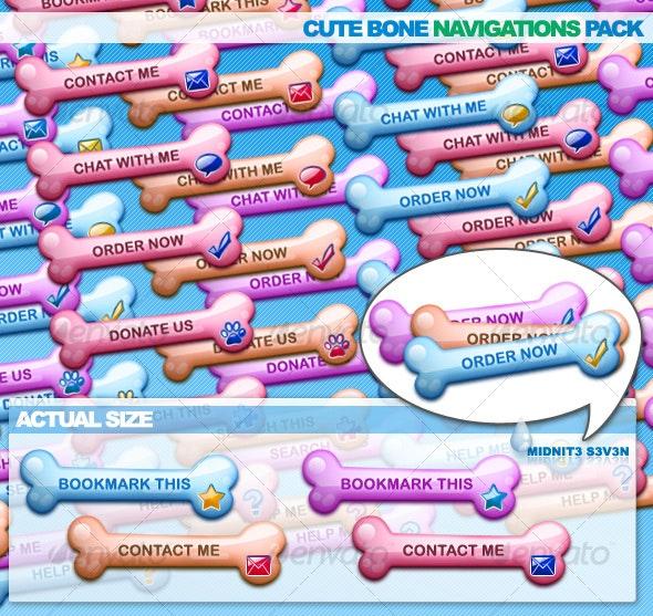 Cute Bone Navigations Pack - Buttons Web Elements