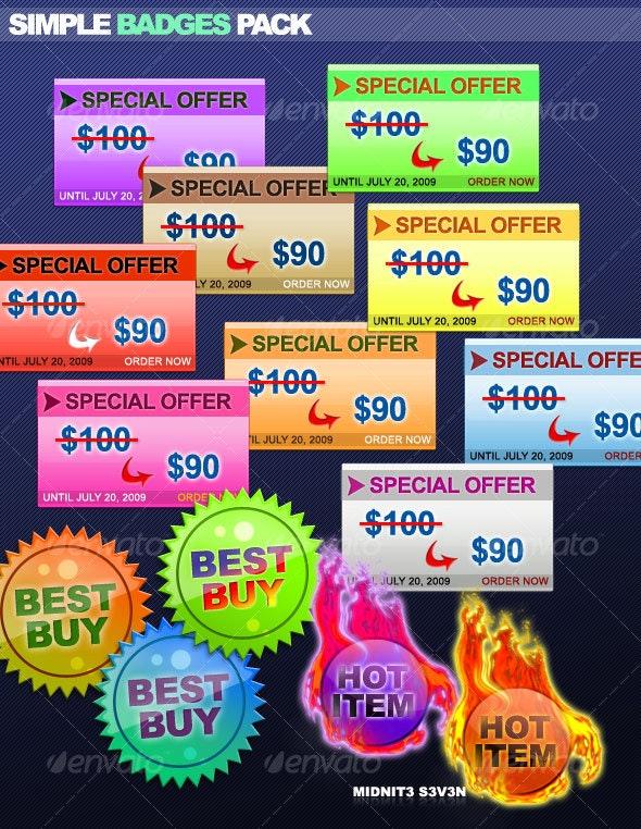 Simple Badges Pack #1 - Miscellaneous Web Elements