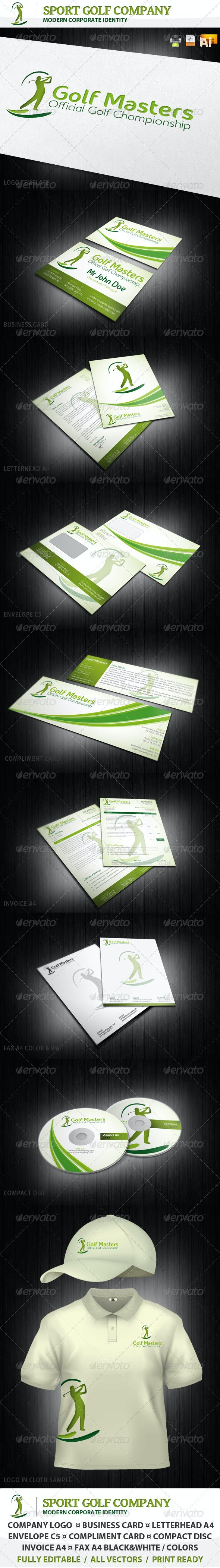 Sport Golf Company Corporate Identity + Logo - Stationery Print Templates