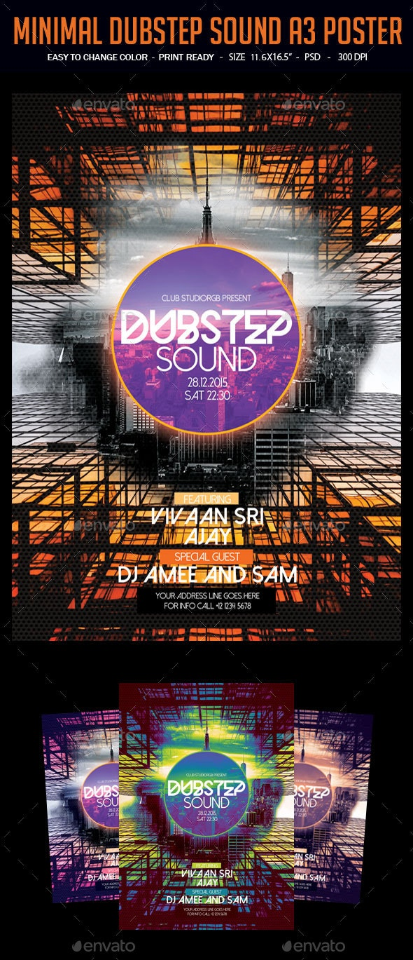 Minimal Dubstep Sound A3 Poster - Clubs & Parties Events