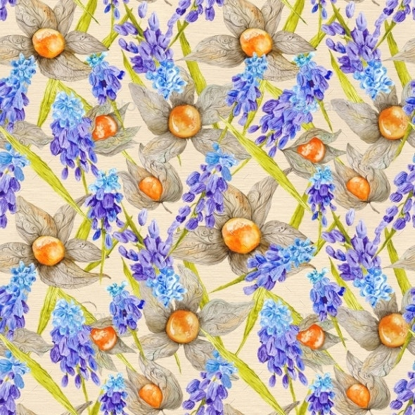 Provence Watercolor Texture With Muskari And - Backgrounds Decorative