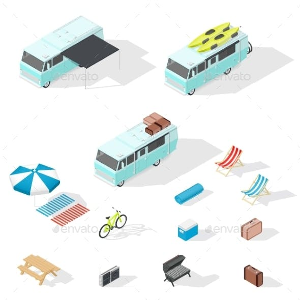 Motorhome And Camping Accessories Isometric Icons