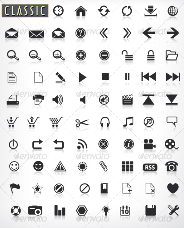 Classic Black Icons with Reflection - Web Icons