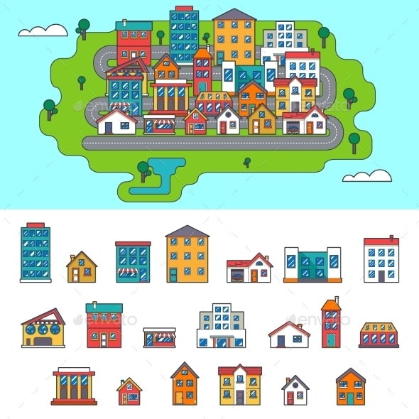 Real Estate City Building House Street Flat Icons - Buildings Objects