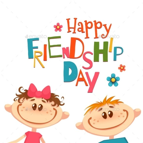 Poster With Friendship Day Title And Children
