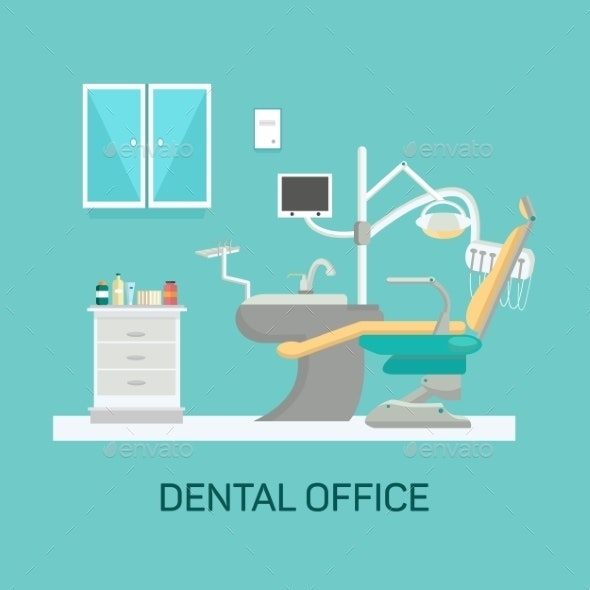 Vector Dental Office With Seat And Equipment Tools - Health/Medicine Conceptual