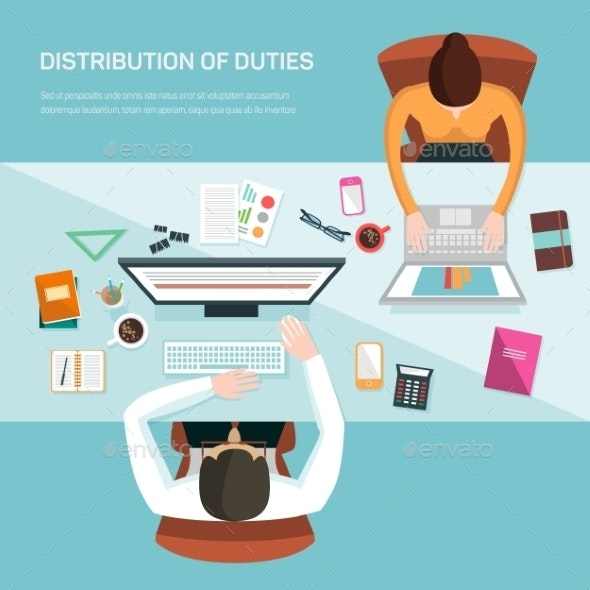 Vector Illustration For Office Workers.  - Concepts Business