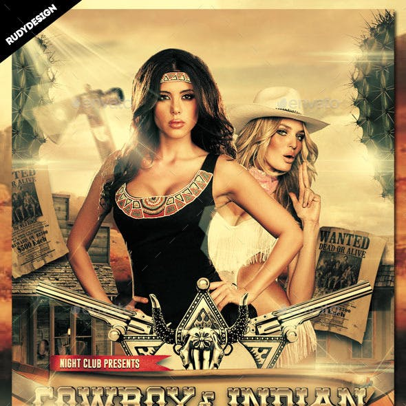 Cowboy and Indian Party Flyer