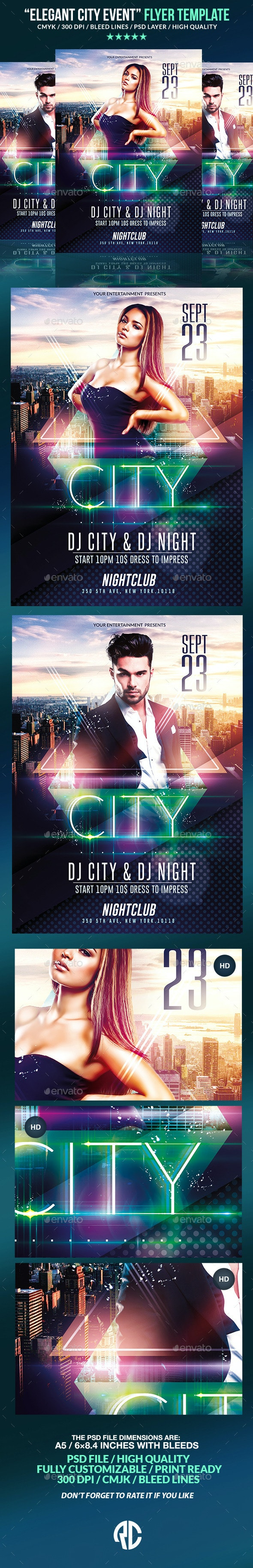Elegant City Event   Psd Flyer Template  - Clubs & Parties Events