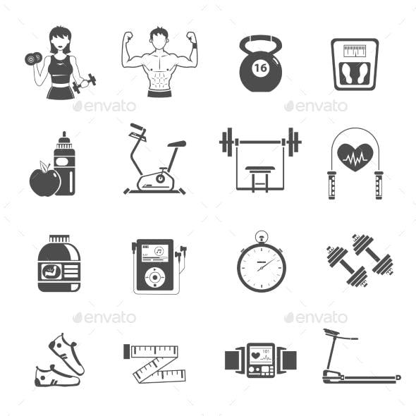 Gym Icon Black Set