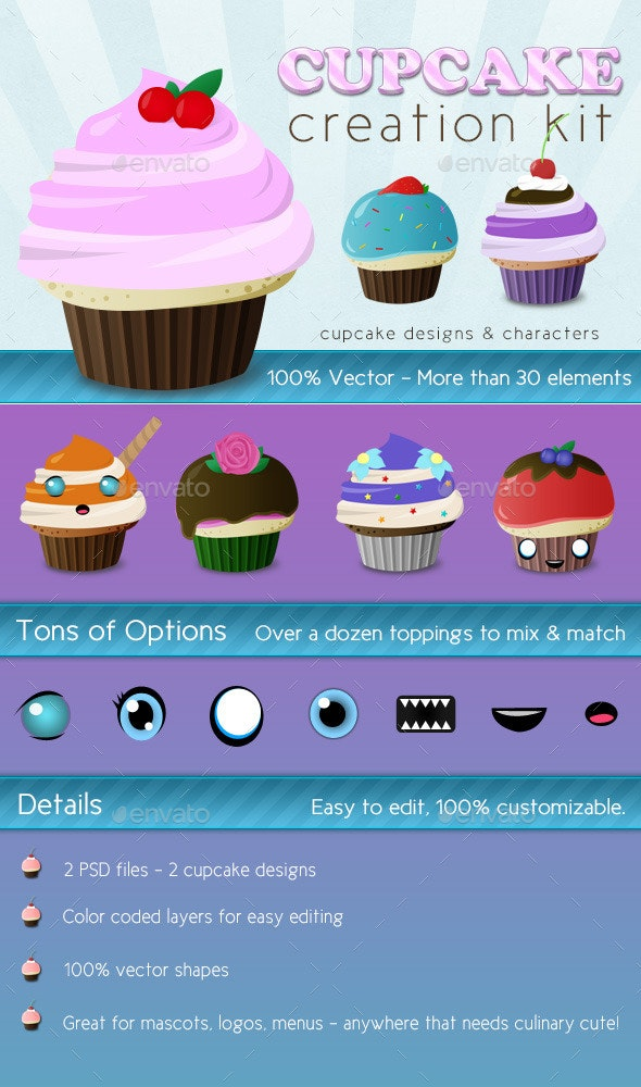 Cupcake Creation Kit - Characters Illustrations