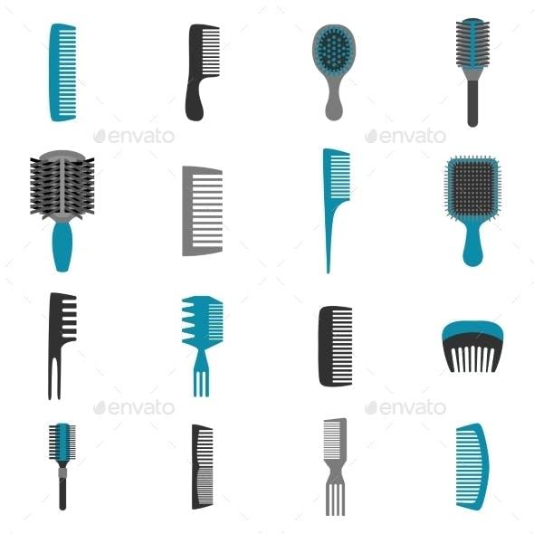 Comb Icons Flat Set