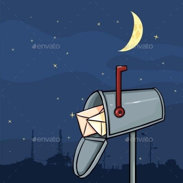 Cartoon Mailbox on Night Sky Background - Man-made Objects Objects