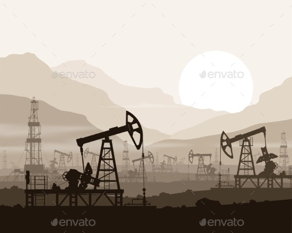 Oil Pumps and Rigs at Oilfield over Mountains - Industries Business