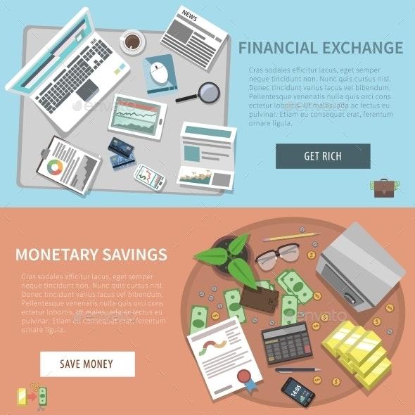 Bank Horizontal Banner Set - Concepts Business