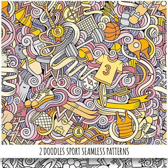 2 Sport Doodles Seamless Patterns