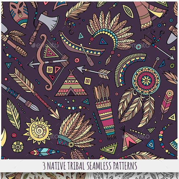 3 Tribal Native Ethnic Seamless Patterns