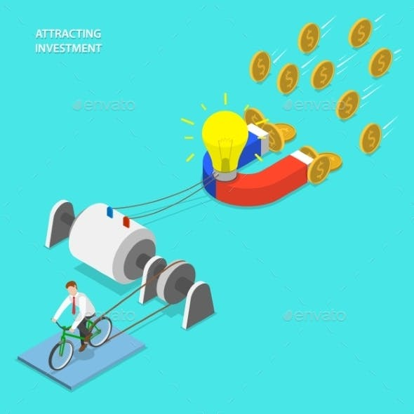 Investment Attraction Flat Isometric Vector