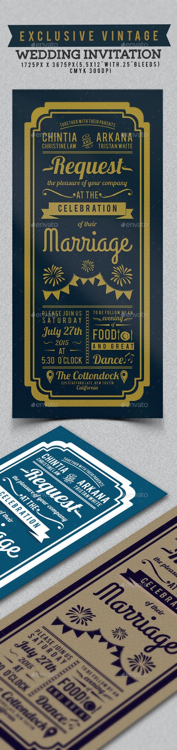 Exclusive Vintage Wedding Invitation - Weddings Cards & Invites